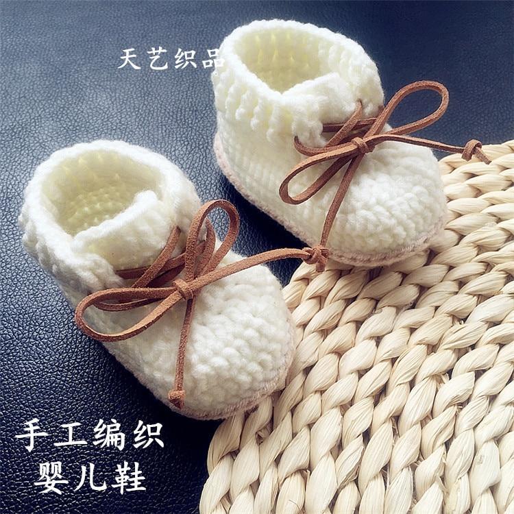 Детская обувь для детей QYFLYXUE0-1 лет, тканая вручную обувь из шерсти на шнурках с мягкой подошвой, высокая обувь на весну и осень