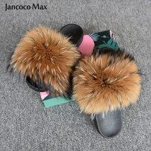 Chaussures femmes mode grande fourrure diapositives réel raton laveur large fourrure moelleux pantoufle été intérieur moelleux fourrure sandales S6020W