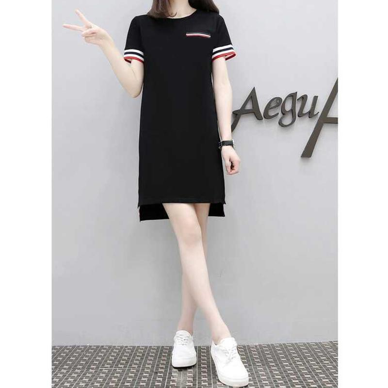 Mujer verano Casual vestido de las mujeres collar redondo suelto vestido de camiseta de Mujer Deporte vestidos Mini vestidos negros