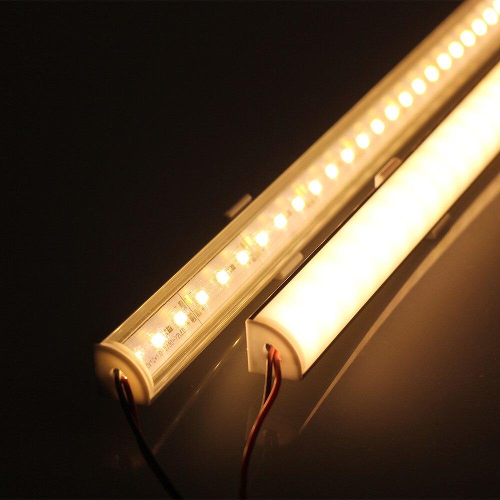 5 unids/lote DC 12V 50CM Esquina de pared LED barra de luz 5730 L forma perfil de aluminio 5730 LED tira dura de luz cocina gabinete Luz