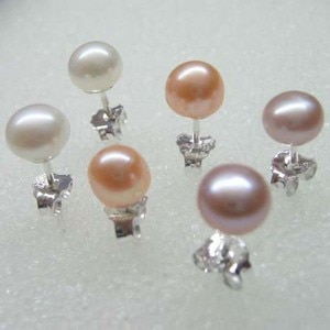 wholesale 4-5mm white pink purple black real pearl earring 925 silver free shipping
