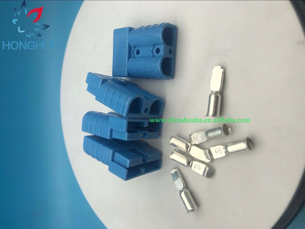 Conector de batería azul de 50 Uds 50 a 600V para carretilla elevadora apiladora PALLET GOLF con contactos #6/8/10-12AWG
