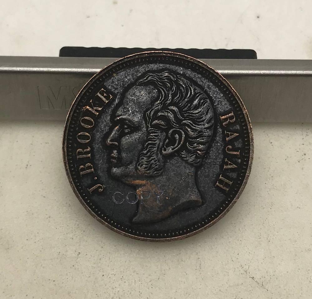 Malaysia Sarawak 1863 Rajah James Brooke One 1 cent  Red Copper Copy Coin