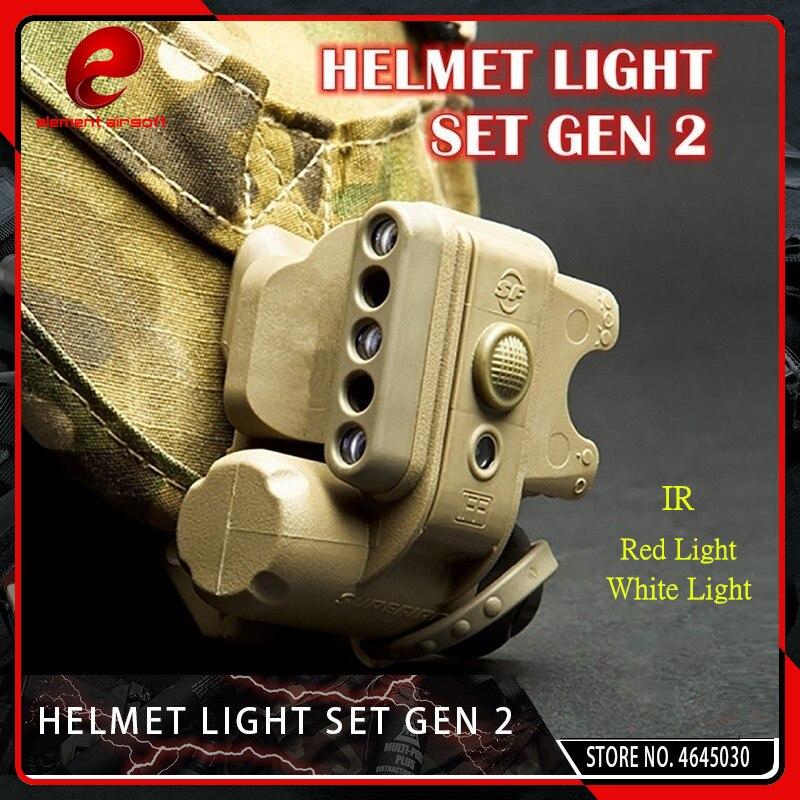 Elemento airsoft tático gen 2 capacete luz branco vermelho ir led gen ii capacete lanterna caber 20mm picatinny ferroviário preto tan