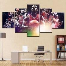 Affiche de peinture en toile HD 5 panneaux   Star Michael Jordan, affiche artistique murale pour salon, décoration de la maison, cadre illustration