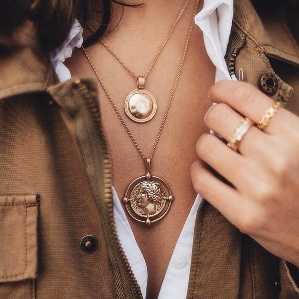 Collar de moneda tallada Vintage para mujer, colgante de cadena larga con medallón de oro bohemio, collar de mujer con colgante Doble