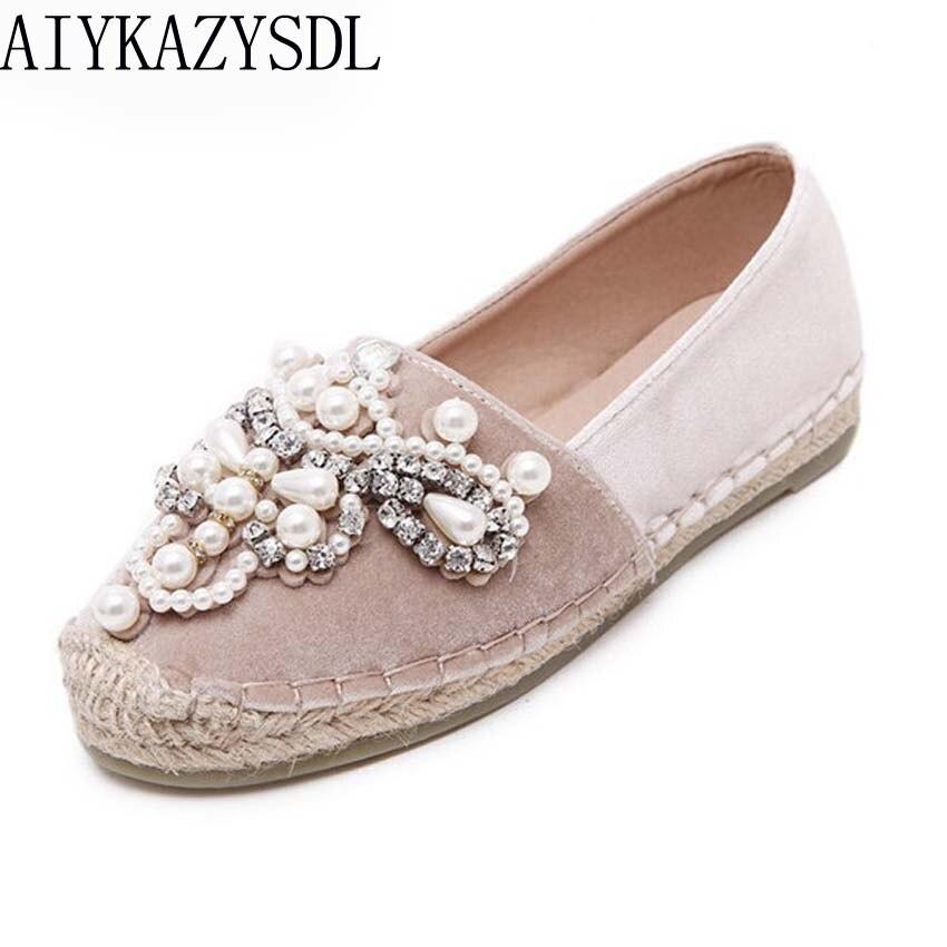 AIYKAZYSDL spring women loafers cane hemp straw fisherman flat heel shoes rhinestone faux pearl espadrilles woman velvet flats