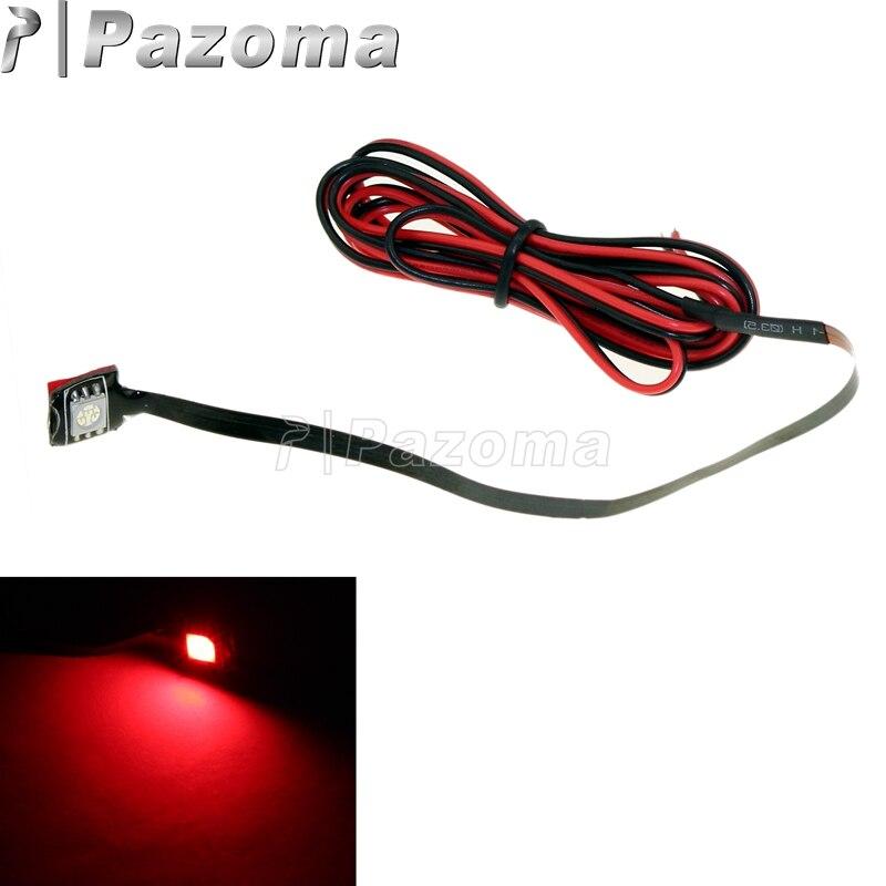 Luz traseira da etiqueta da placa de licença do diodo emissor de luz da motocicleta 12 v da tira do anjo do diabo vermelho 3-chip smd brilhante super conduziu o fio de ligação de 113cm