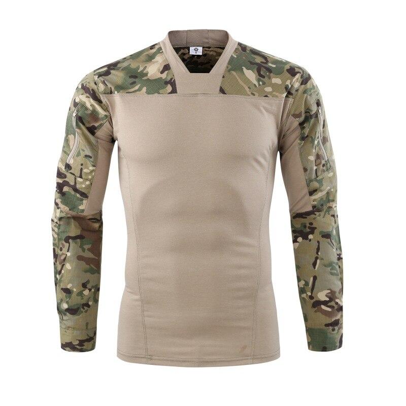 Camuflaje militar táctico combate camiseta hombres fuerza Multicam Camo ejército camisa de manga larga senderismo escalada uniformes de disparo