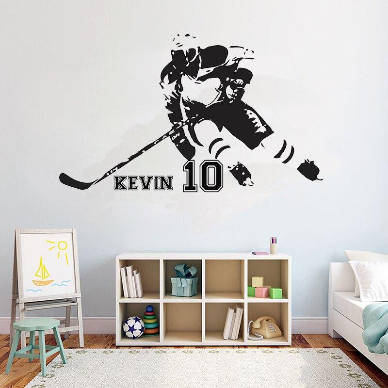 Хоккейный персональный название настенные наклейки с цитатами поле лед хоккейный спортивный Цитата Девушки Мальчики Подростковая комната...