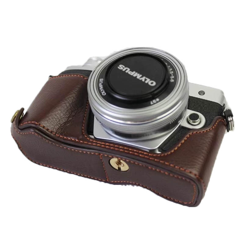 Nieuwe Lederen Half Body Camera Tas voor Olympus EM10 III EM10-M3 EM10 Mark 3 Bottom Cover Opening Batterij