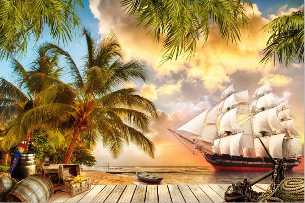 7x5 pies palmera arena playa cubierta náutica piratas barco vela personalizado foto estudio Fondo vinilo 220 cm x 150 cm
