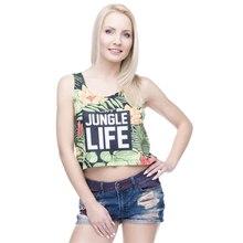 Women Casual Short Tank Tops Jungle Life Full Printing Women Crop Top Sexy Vest Female Woman Tops Crop