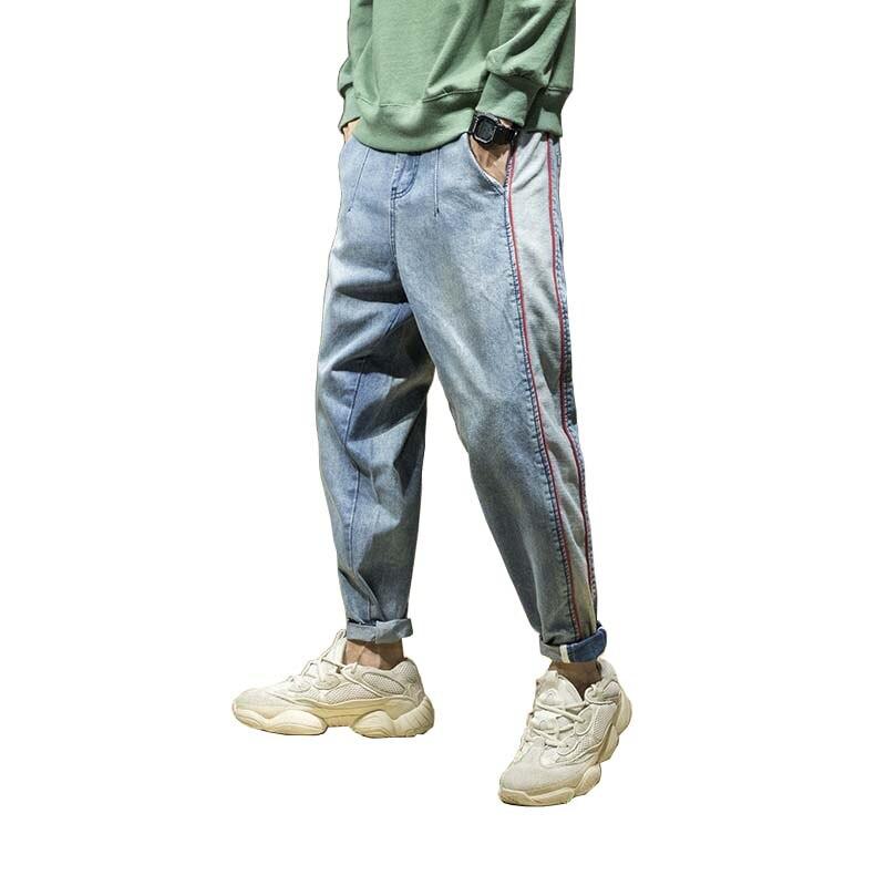 Уличной хип-хоп шаровары джинсовые штаны Свободные мешковатые бегунов джинсы мужские Модные джинсы Брюки мужские мужская одежда