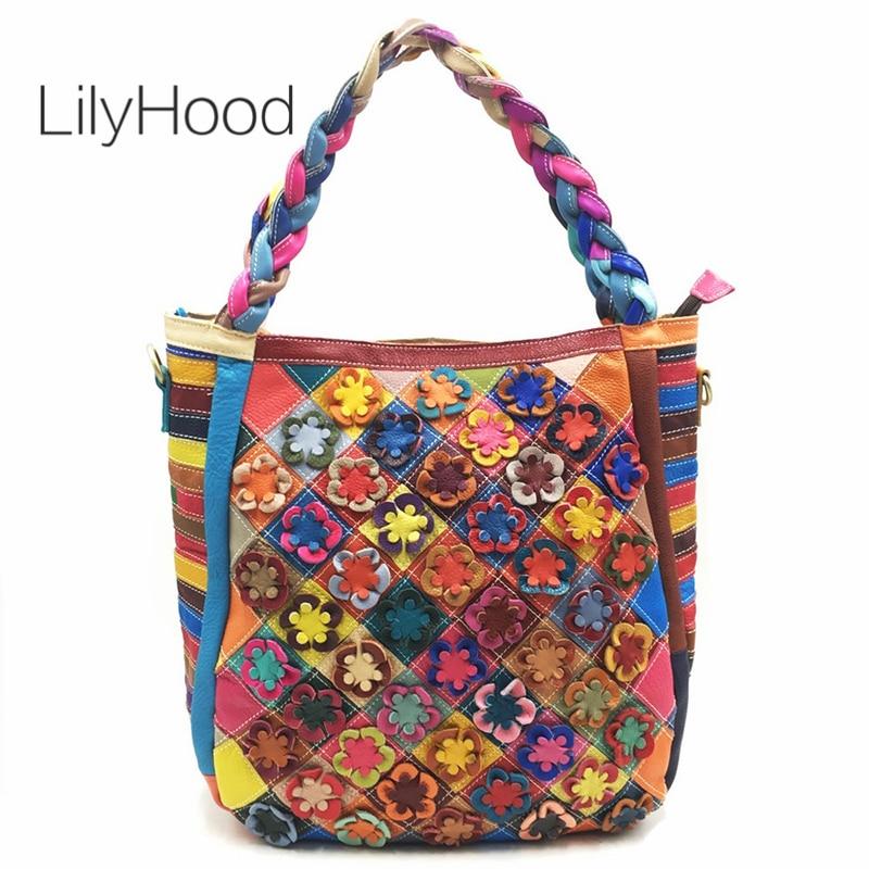 LilyHood-حقيبة حمل كبيرة من الجلد الطبيعي بمقبض علوي بسحاب ، حقيبة حمل عصرية على طراز بوهو للنساء ، للعمل