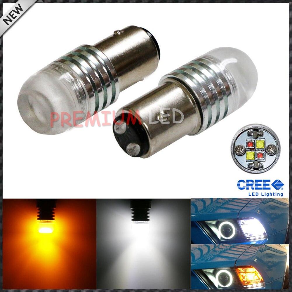 IJDM 1157 2057 2357 20W de alta potencia Super brillante blanco/ámbar 360 grados de brillo Switchback bombillas LED para luces de señal de giro frontal