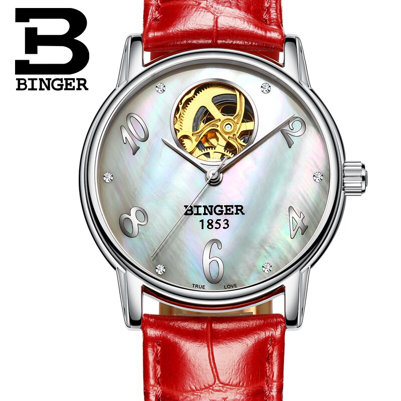 Switzerland Binger Women's watches Skeleton luxury clock leather strap auto Self-wind Tourbillon mechanical Wristwatches B553-2 enlarge