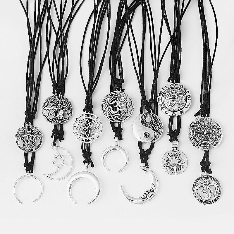 1 шт. модное ожерелье ручной работы для йоги/лотоса/Луны/звезды/быка, подвески, ожерелье, ювелирное изделие, подарок для мужчин и женщин