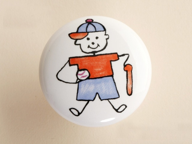 10 قطعة أثاث السيراميك الطفل البيسبول الصبي مطبخ درج المقابض (القطر: 38 مللي متر)