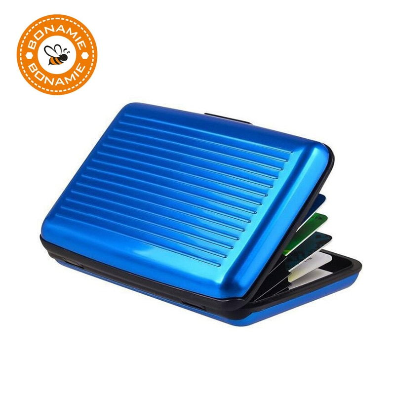 BONAMIE Blue Aluminum Bank ID Waterproof Anti-Magnetic Packs Card Holder Large Capacity Card Sets Card Wallet Business Card Bag