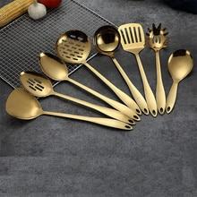 1 шт. золотые титановые кухонные инструменты из нержавеющей стали ложка-лопатка кухонная посуда кухонные инструменты Cocina посуда лопатка ковш кухонные принадлежности