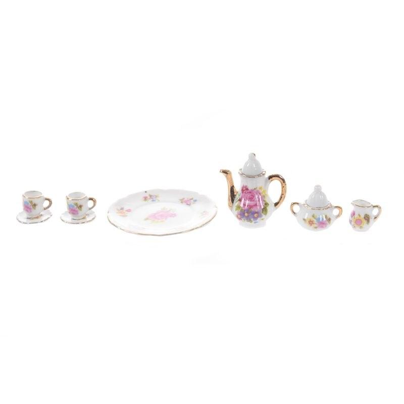 8 Uds casa de muñecas miniatura comedor juego de té de porcelana plato taza plato-rosa