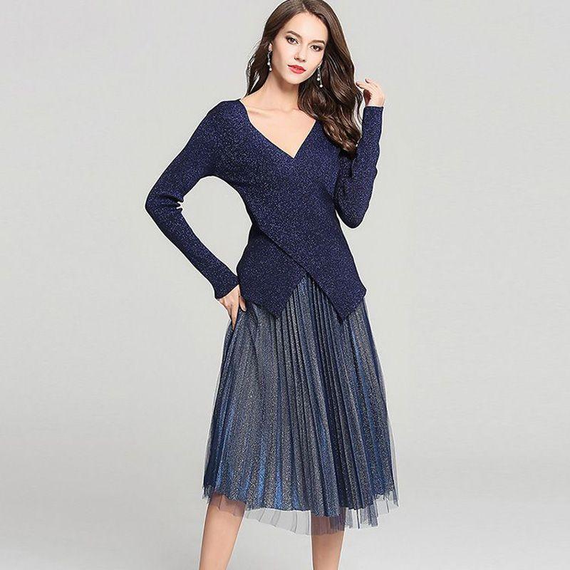 Otoño mujer brillante seda Irregular de punto de manga larga cuello en V suéter falda superior trajes + moda de malla plisado trajes dos Peice Set