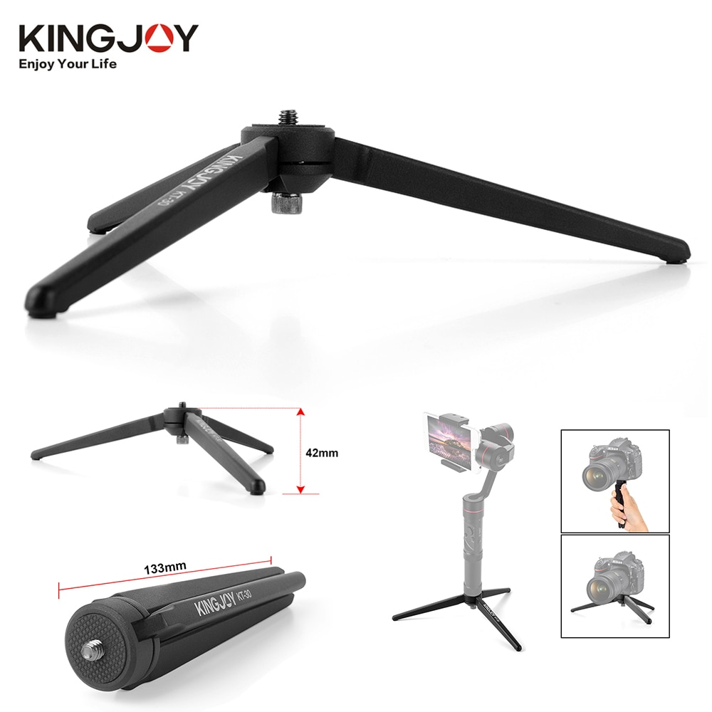 KINGJOY KT-30 Mini trípode de mesa portátil de aluminio para cámara Digital DSLR Zhiyun Smooth Q 3 grúa-M Crane2 Moza Air