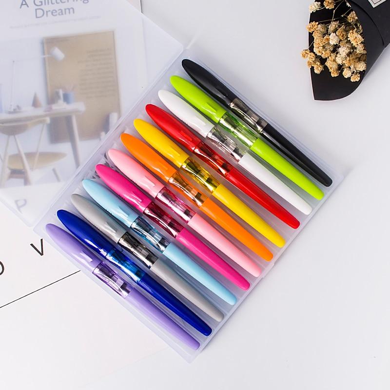12 шт. Jinhao цветная авторучка, прозрачная разноцветная ручка, чехол, набор, милая Акула, кепка EF/F/изогнутая, с многоразовыми конвертерами