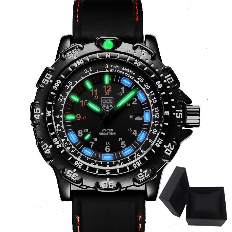 Aidis men sports watches brand casual cool military waterproof outdoor glowing quartz watch men student clock relogio masculino