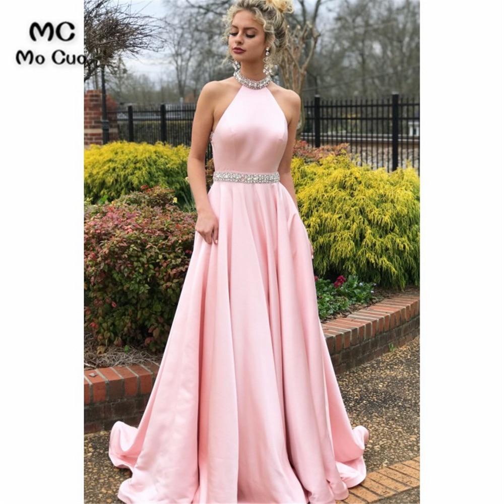 Elegant Halter Evening Dresses Long with Beaded Crystals Satin vestido longo Formal Backless Evening Party Dress Custom Made