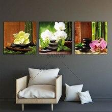 Peintures murales Art 3 panneaux   Impression Giclee moderne, pierres de Basalt Zen, fleurs bambou sur toile, décor pour la maison, sans cadre