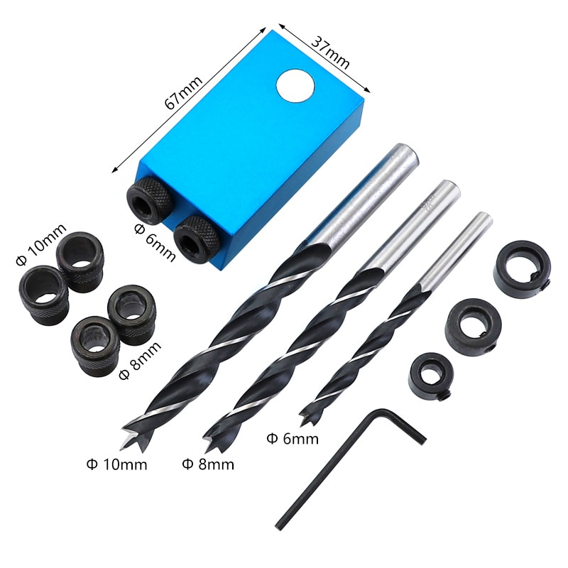 Dima per foro tascabile sostituibile 6, 8, 10mm guida per trapano kit - Punta da trapano - Fotografia 2