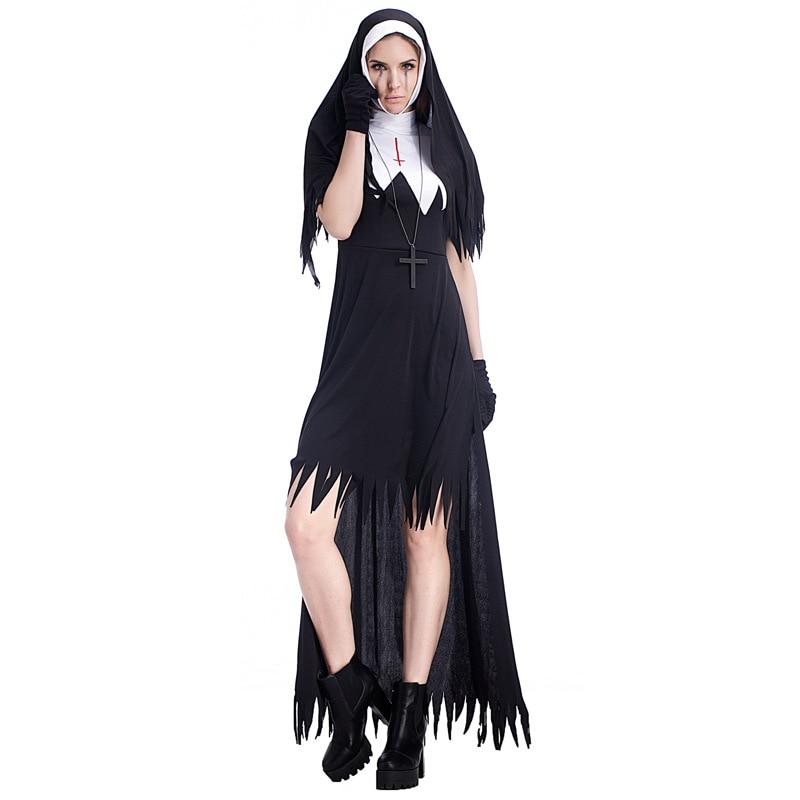 Halloween negro escalofriante malvado Cruz traje de monja Día de los muertos Terror vampiro zombi monja Cosplay vestido de lujo