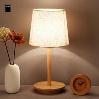 Wood Fabric Shade Table Lamp Fixture Nordic Japanese Decorative Minimalist Desk Light Night Stand Bulb Fittings Bedroom Bedside