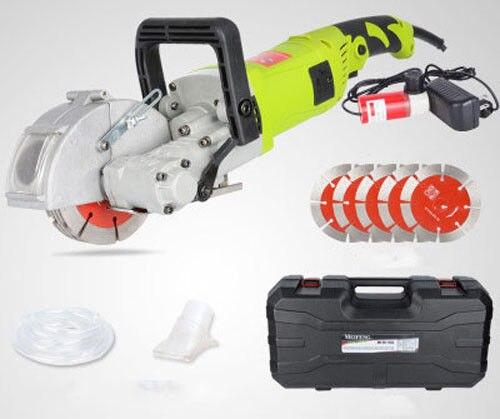Cortadora de pared eléctrica de 220V y 4000 W, máquina cortadora de ranurado de pared con hoja de sierra de 5 uds