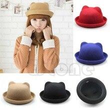 Fashion Unisex Women ParentChild Ear Cap Derby Cat Wool Fedora Bowler Hats