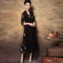 2019New Collectie China stijl Mode Vrouwen kant borduurwerk elegante jurk middelbare leeftijd Lente stijl party dress longo vestidos XXXXL