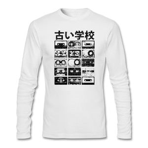 Vintage Style Mens Rock Customize T-shirt with Old School Cassettes Fabric Vintage Distressed Look Men Tops Short Man T-shirt