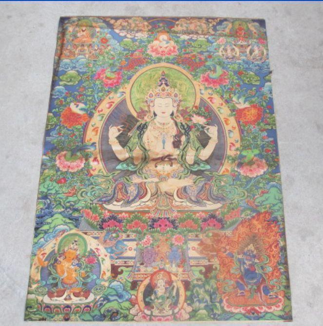 Raro tibetano thangkas mano Nepal pintura cuatro manos diosa Guanyin método