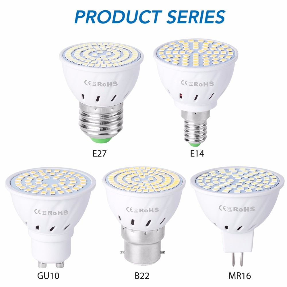 GU10 LED E27 Lamp E14 Spotlight Bulb 48 60 80leds lampara 220V GU 10 bombillas led MR16 gu5.3 Lampad