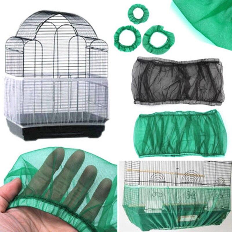 Fundas de jaula para pájaros de fácil limpieza, protector de malla, atrapasemillas, jaula para pájaros, faldón de carcasa de red, a prueba de polvo, funda de jaula para loros de malla, 2 tamaños