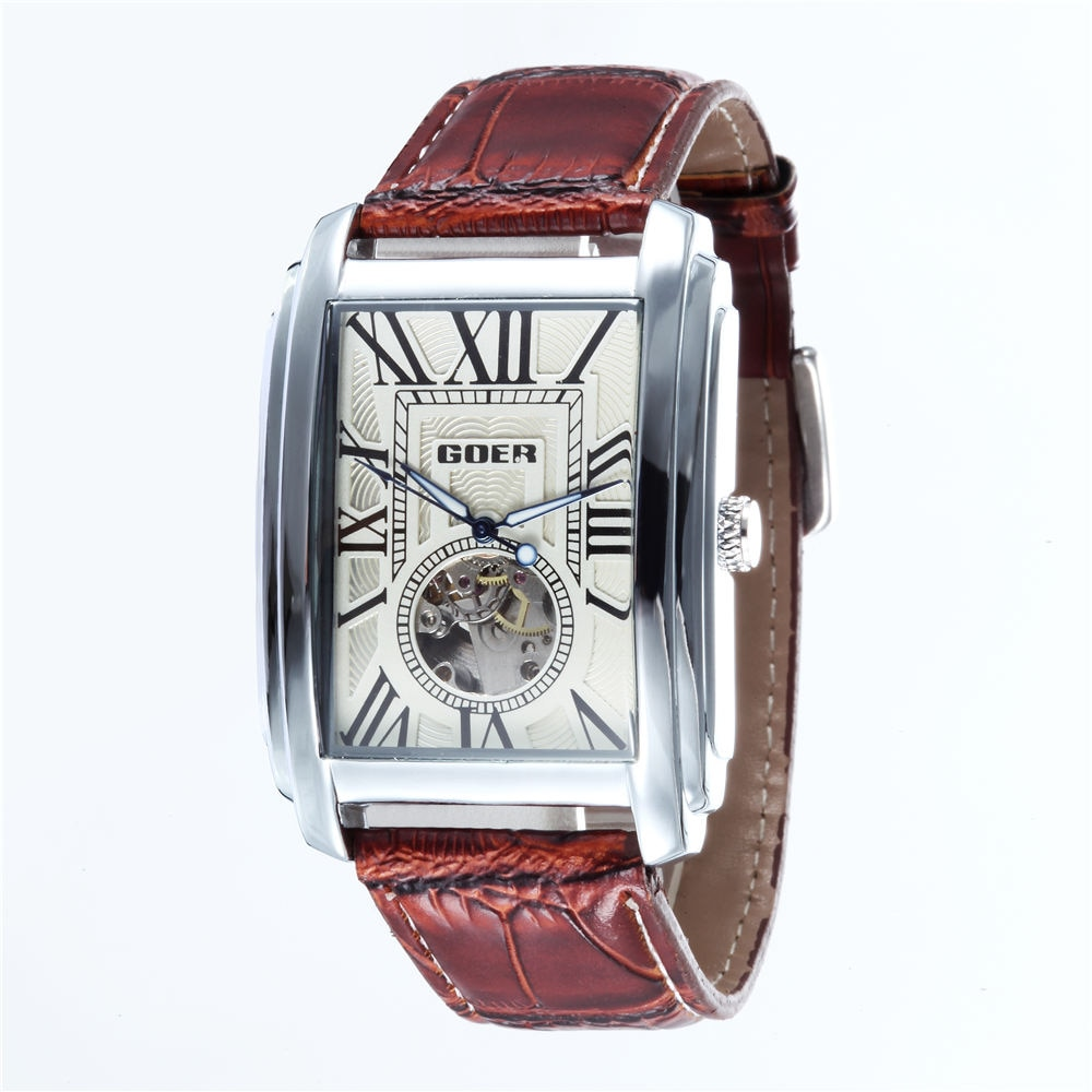 Relogio Masculino  Top Brand Luxury Skeleton Watches Men Leather Band Rectangle Automatic Mechanical