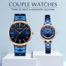 CURREN Top Brand Luxury Women Men Couple Watch Waterproof Stainless Steel Lover Wristwatch Dress Quartz Clock Gift Set for Sale