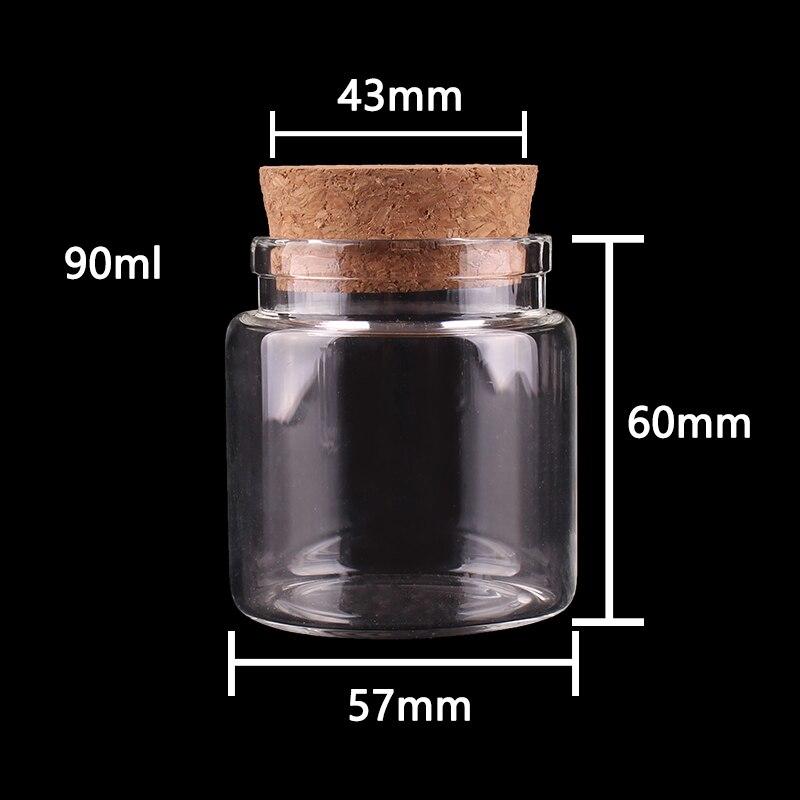 12 Uds 57*60*43mm 90ml botellas de vidrio transparentes con tapón de corcho frascos de botellas de almacenamiento de especias vacías viales artesanales de regalo
