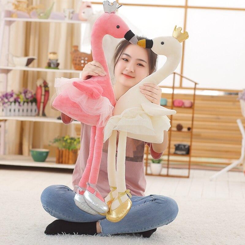 Плюшевая игрушка Kawaii Swan, 1 шт., 50/80 см, мягкое набивное милое животное Фламинго с обувью, милые куклы для детей, подарок на день ребенка