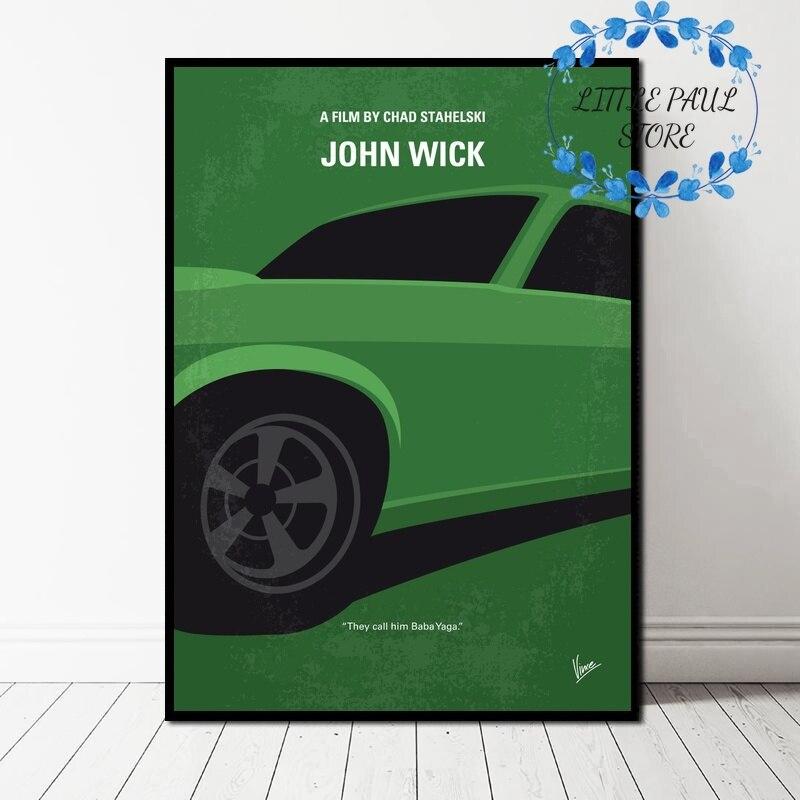 Póster de pared de arte de la película minimalista John Wick para sala de estar sin marco