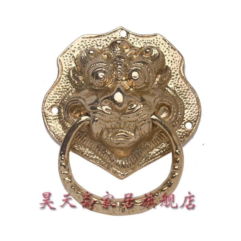[Haotian vegetarian] antigüedad China manija de la puerta de cobre aldaba bestia Primera Tienda HTA-034