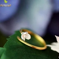 flyleaf clover flower core opening rings 925 sterling silver rings for women sterling silver jewelry