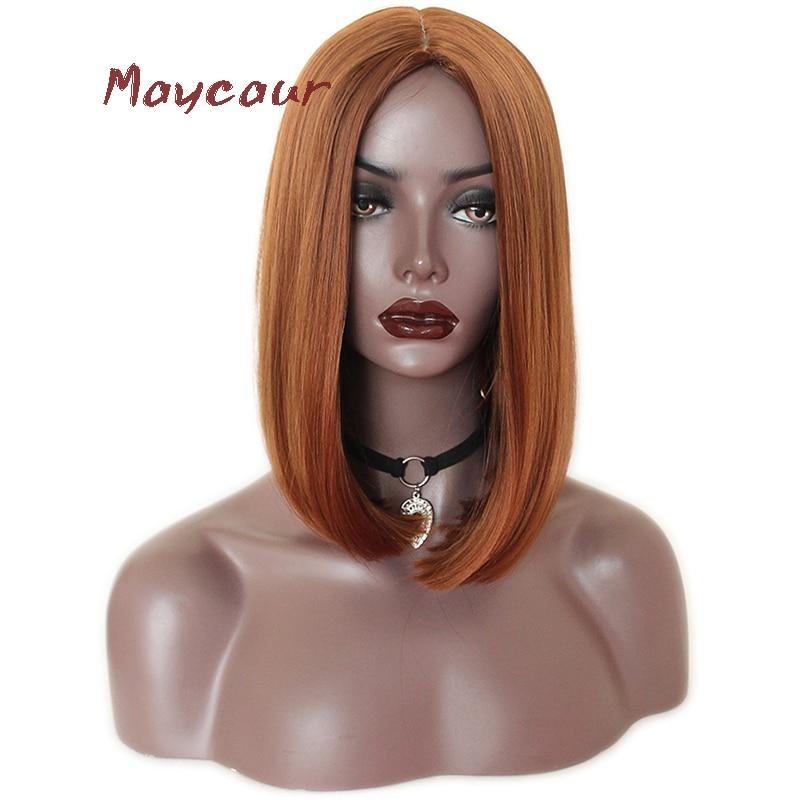 Maycaur-شعر مستعار صناعي ناعم ، شعر قصير ، أشقر/برتقالي ، للنساء السود